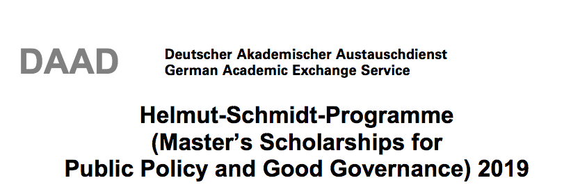 Masters Scholarships : DAAD Helmut-Schmidt-Programme Master's Scholarships for Public Policy and Good Governance 2020 for Study in Germany (Fully Funded) (Deadline: 31st July 2019)