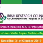 Government of Ireland Postgraduate Scholarship Programme 2020 : ( Deadline : 31 October  2019 )