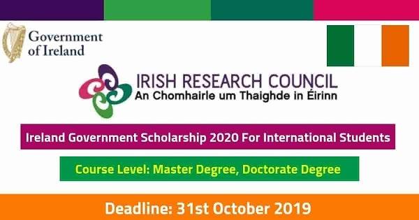 Government of Ireland Postgraduate Scholarship Programme 2020 : ( Deadline : 31 October  2019 )