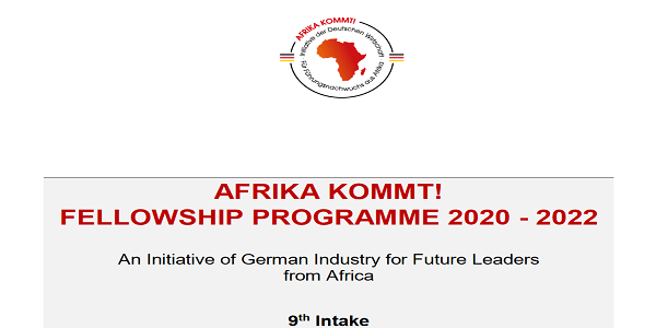 The AFRIKA KOMMT! fellowship programme 2020/2022 for Future Leaders from Sub-Saharan Africa (Fully Funded to Germany) : ( Deadline : 10 January 2020 )