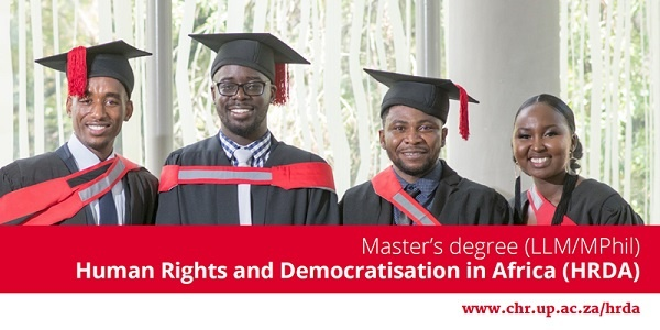 Masters degree schoraships in LLM/MPhil (Human Rights & Democratisation in Africa) : ( Deadline : 15 April 2020 )