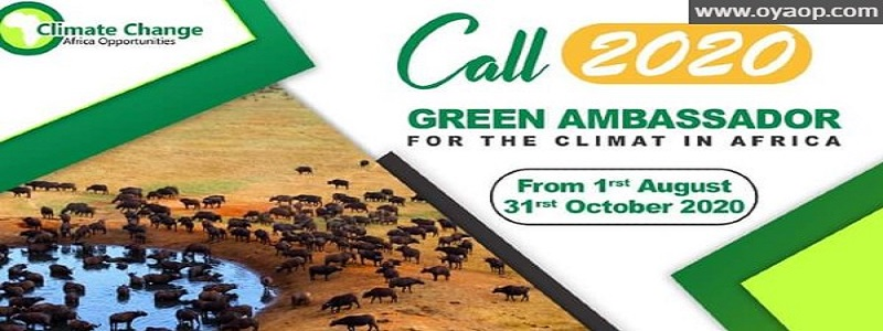 Green Ambassador for the Climate in Africa 2020: (Deadline 31 October 2020)