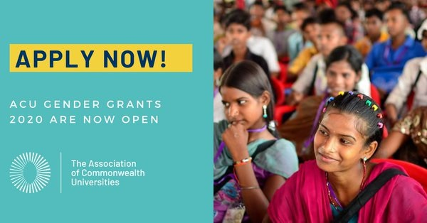Association of Commonwealth Universities (ACU) Gender Grants 2020: (Deadline 20 September 2020)