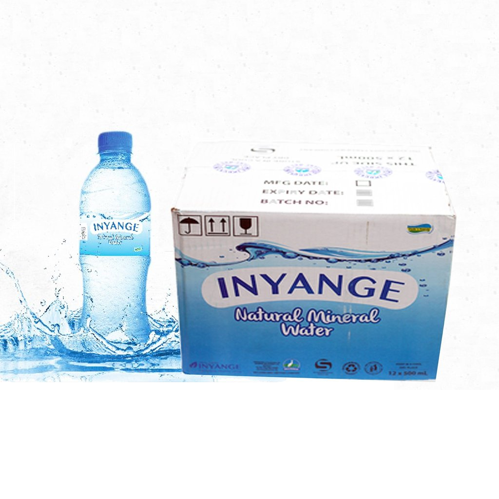 Inyange Water 500 ml 12p,c Quantity:1 carton for 12Pc Price: 3200 Rwf Delivery Fees: 1000 Rwf