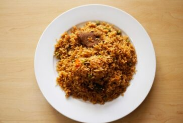 Isame Pilau Served with Meat Cooked in Red Sauce  Meat cooked in Red Sauce Served with small chips Beans, isombe and dodo, Price : 4,500 Frw, Free Delivery