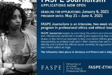 FASPE Journalism Fellowships 2021: (Deadline 6 January 2021)