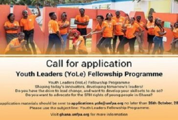 UNFPA Youth Leaders (YoLe) Fellowship Program 2020 for young Ghanaians: (Deadline 26 October 2020)