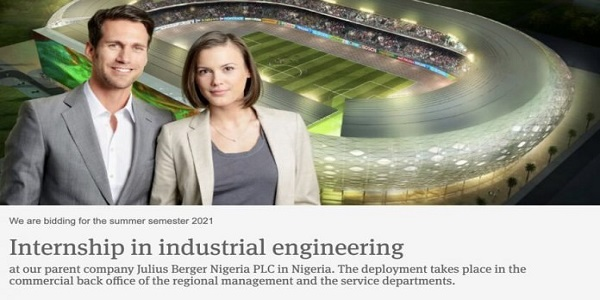 Julius Berger Nigeria Internship in Industrial Engineering: (Deadline unspecified)