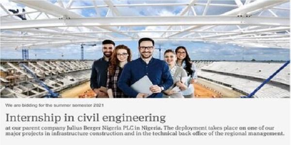 Julius Berger Nigeria Internship 2021 in Civil Engineering: (Deadline unspecified)
