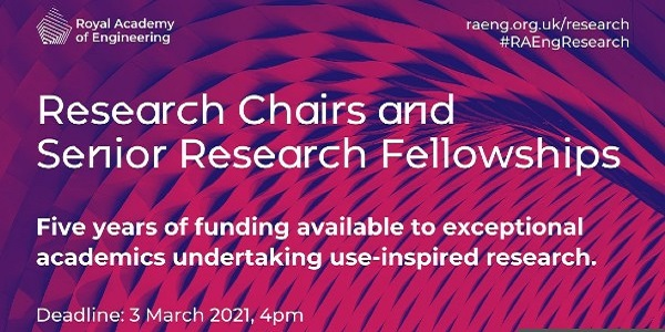Research Chairs and Senior Research Fellowships 2021: (Deadline 3 March 2021)