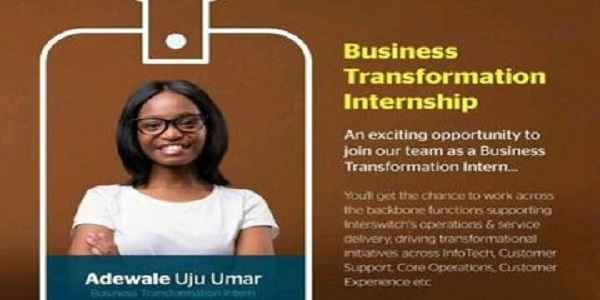 Interswitch Group Business Transformation Internship 2020 for young Nigerian graduates: (Deadline 20 November 2020)