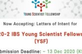 Institute for Basic Science (IBS) Young Scientist Fellowship 2020 (Funding available): (Deadline 13 December 2020)