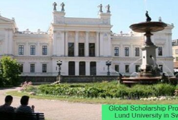 Global Scholarship Program at Lund University in Sweden: (Deadline 15 February 2021)