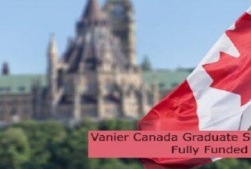 Vanier Canada Graduate Scholarships   Fully Funded: (Deadline 3 November 2021)