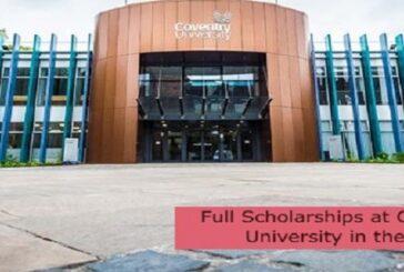Full Scholarships at Coventry University in the UK: (Deadline 31 August 2021)
