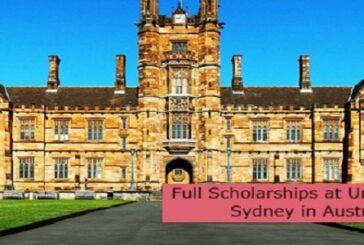 Full Scholarships at University of Sydneyin Australia: (Deadline 31 August 2021)