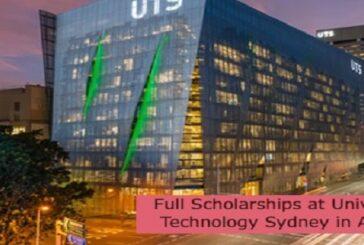 Full Scholarships at University of Technology Sydney in Australia: (Deadline 31 August 2021)
