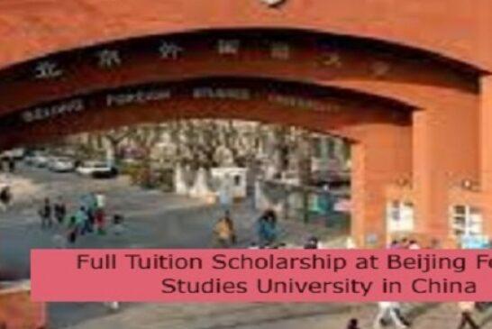 Full Tuition Scholarship at Beijing Foreign Studies University in China: (Deadline 1 December 2021)