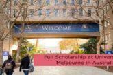Full Scholarship at University of Melbourne in Australia: (Deadline 30 November 2021.)