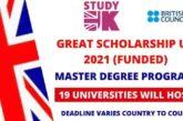 Bangor University 2021 Global Wales British Council India Scholarships in UK (Deadline: 15 November 2021)